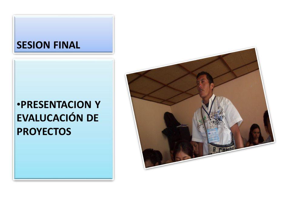 SESION FINAL PRESENTACION Y EVALUCACIÓN DE PROYECTOS