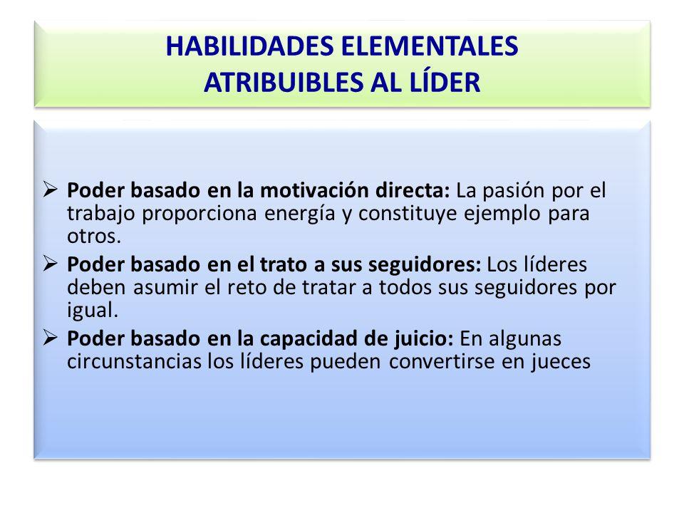 HABILIDADES ELEMENTALES ATRIBUIBLES AL LÍDER Poder basado en la motivación directa: La pasión por el trabajo proporciona energía y constituye ejemplo