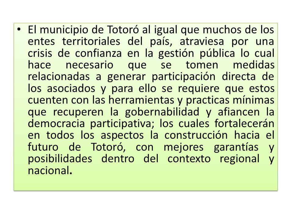 El municipio de Totoró al igual que muchos de los entes territoriales del país, atraviesa por una crisis de confianza en la gestión pública lo cual ha