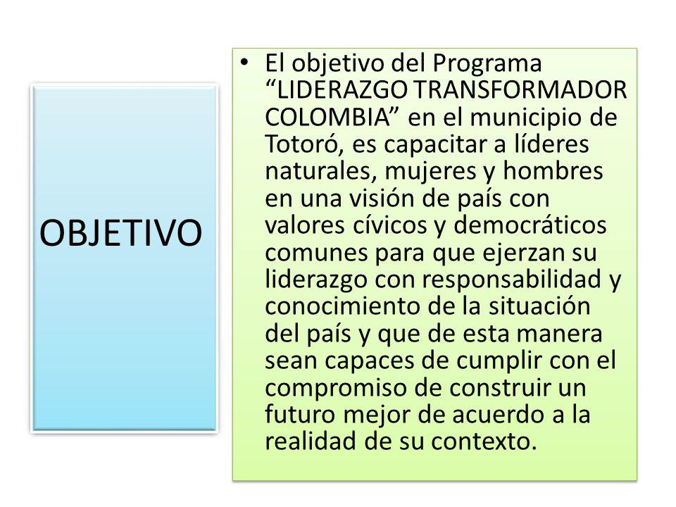 El objetivo del Programa LIDERAZGO TRANSFORMADOR COLOMBIA en el municipio de Totoró, es capacitar a líderes naturales, mujeres y hombres en una visión