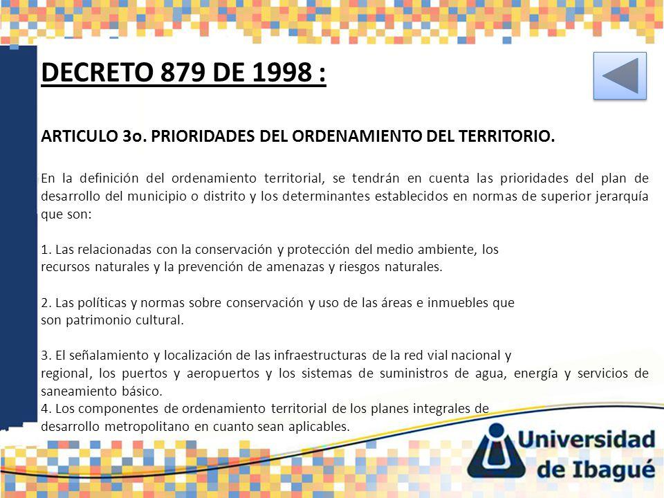 DECRETO 879 DE 1998 : ARTICULO 3o. PRIORIDADES DEL ORDENAMIENTO DEL TERRITORIO. En la definición del ordenamiento territorial, se tendrán en cuenta la