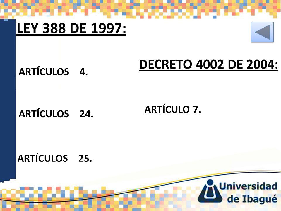 LEY 388 DE 1997: ARTÍCULOS 4.PARTICIPACIÓN DEMOCRÁTICA.