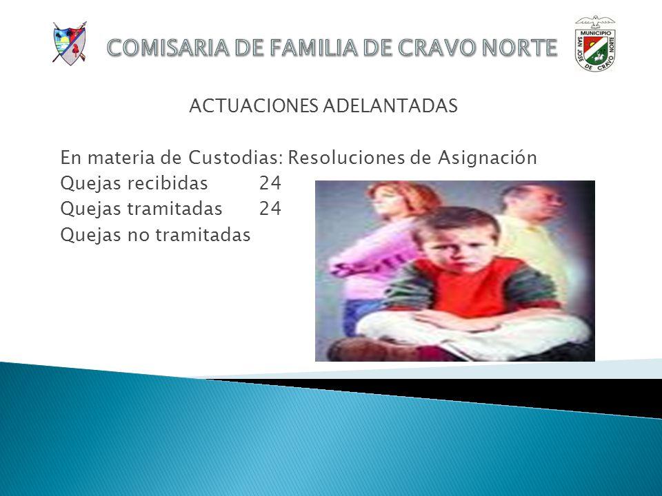 ACTUACIONES ADELANTADAS En materia de Alimentos: Actas de conciliación Quejas recibidas 24 Quejas tramitadas13 Quejas no tramitadas11