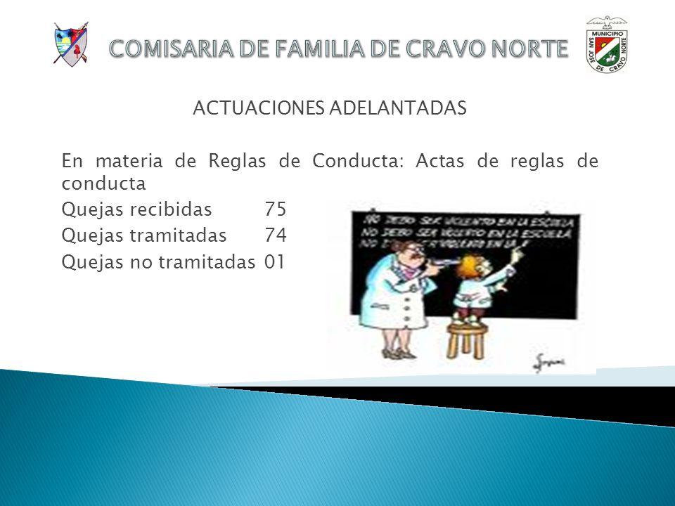 ACTUACIONES ADELANTADAS En materia de Investigación de Paternidad: Procesos de filiación Quejas recibidas 01 Quejas tramitadas01 Quejas no tramitadas