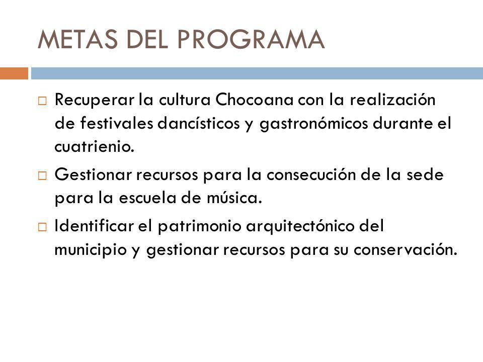METAS DEL PROGRAMA Implementar 4 intercambios culturales con otros Municipios. Realizar mensualmente 1 noche de cine durante el cuatrienio. Apoyo a ot