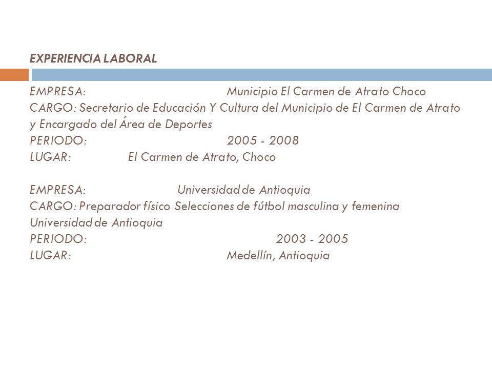 ESTUDIOS REALIZADOS SECUNDARIOS: INSTITUCIÓN:ASPRODE Universidad de Medellín MUNICIPIO:Medellín (Antioquia) TITULO OBTENIDO:Bachiller Académico AÑO DE