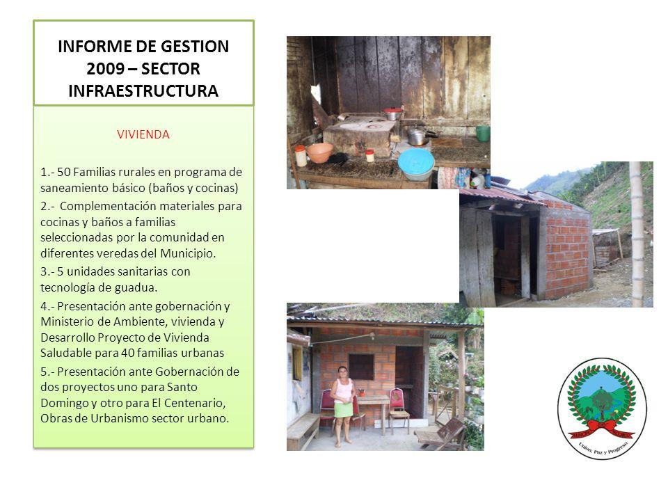 VIVIENDA 1.- 50 Familias rurales en programa de saneamiento básico (baños y cocinas) 2.- Complementación materiales para cocinas y baños a familias seleccionadas por la comunidad en diferentes veredas del Municipio.