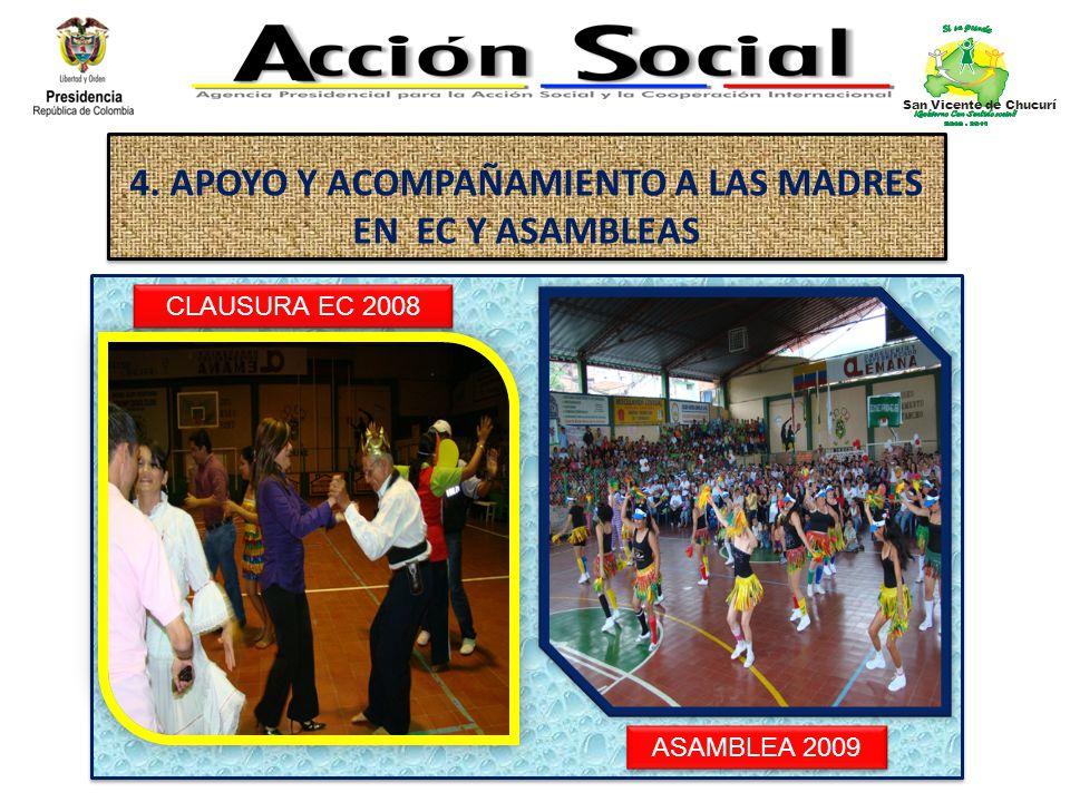 4. APOYO Y ACOMPAÑAMIENTO A LAS MADRES EN EC Y ASAMBLEAS CLAUSURA EC 2008 ASAMBLEA 2009