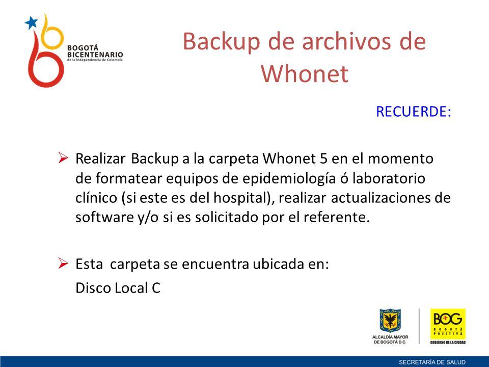 Backup de archivos de Whonet RECUERDE: Realizar Backup a la carpeta Whonet 5 en el momento de formatear equipos de epidemiología ó laboratorio clínico (si este es del hospital), realizar actualizaciones de software y/o si es solicitado por el referente.