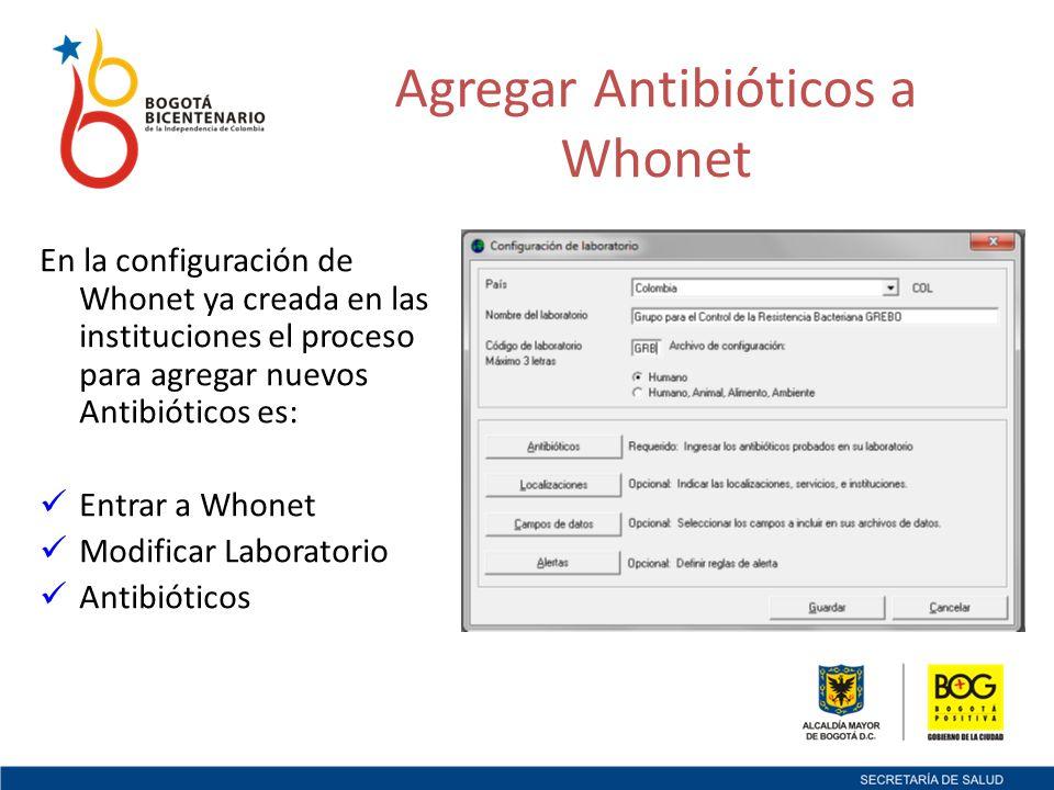 En la configuración de Whonet ya creada en las instituciones el proceso para agregar nuevos Antibióticos es: Entrar a Whonet Modificar Laboratorio Antibióticos Agregar Antibióticos a Whonet