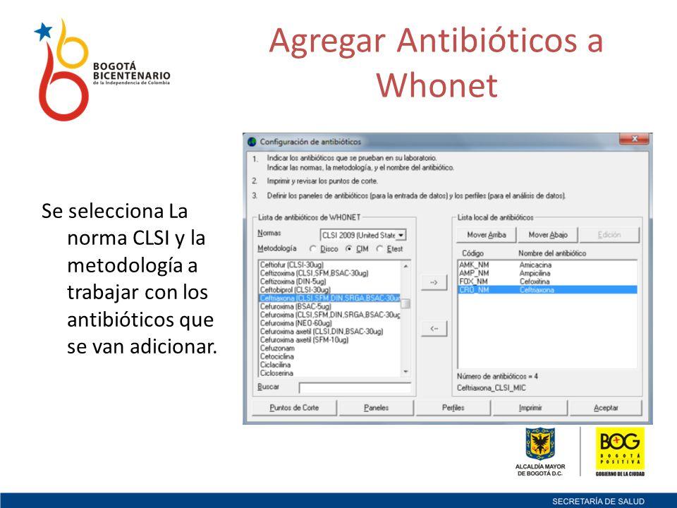 Se selecciona La norma CLSI y la metodología a trabajar con los antibióticos que se van adicionar.