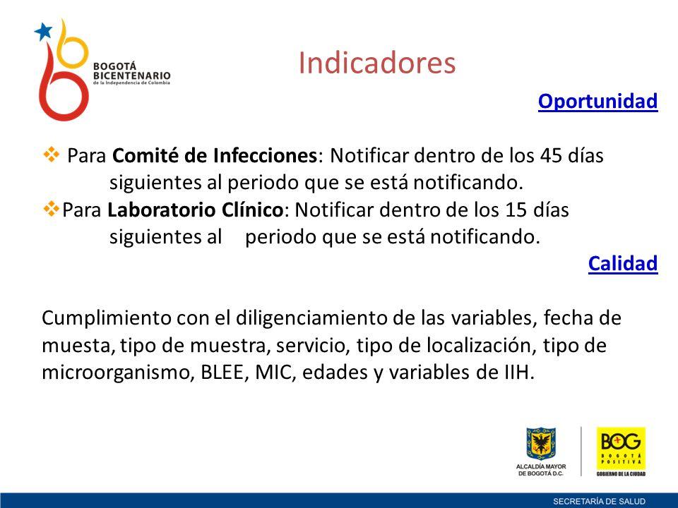Oportunidad Para Comité de Infecciones: Notificar dentro de los 45 días siguientes al periodo que se está notificando.
