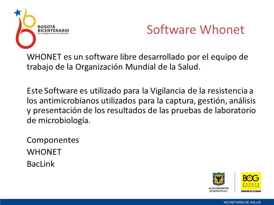 WHONET es un software libre desarrollado por el equipo de trabajo de la Organización Mundial de la Salud.