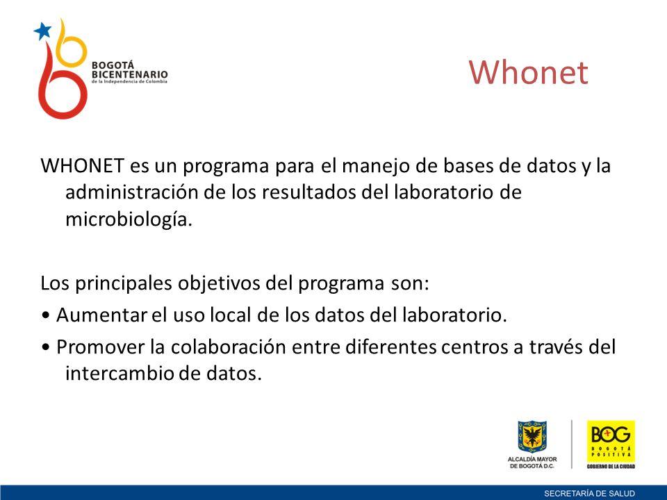 Whonet WHONET es un programa para el manejo de bases de datos y la administración de los resultados del laboratorio de microbiología.