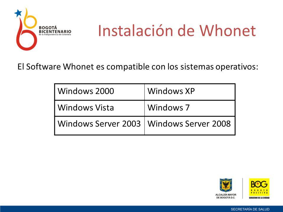 Instalación de Whonet El Software Whonet es compatible con los sistemas operativos: Windows 2000Windows XP Windows VistaWindows 7 Windows Server 2003Windows Server 2008