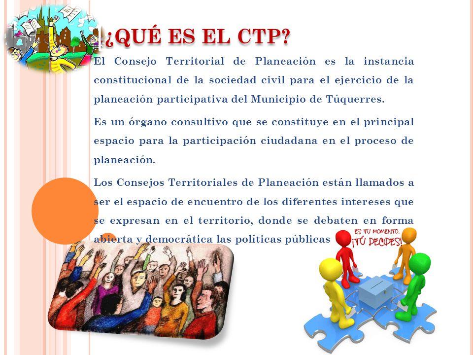¿QUÉ ES EL CTP? El Consejo Territorial de Planeación es la instancia constitucional de la sociedad civil para el ejercicio de la planeación participat