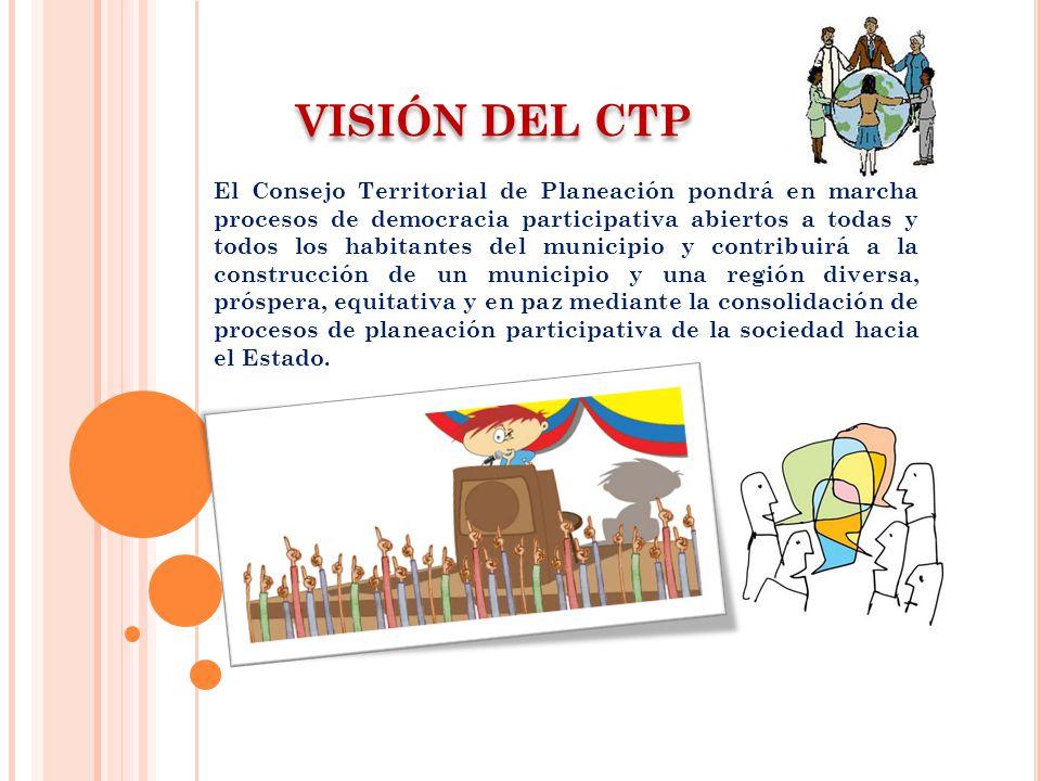 VISIÓN DEL CTP El Consejo Territorial de Planeación pondrá en marcha procesos de democracia participativa abiertos a todas y todos los habitantes del municipio y contribuirá a la construcción de un municipio y una región diversa, próspera, equitativa y en paz mediante la consolidación de procesos de planeación participativa de la sociedad hacia el Estado.