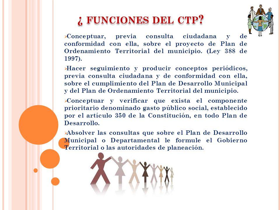 ¿ FUNCIONES DEL CTP ? Conceptuar, previa consulta ciudadana y de conformidad con ella, sobre el proyecto de Plan de Ordenamiento Territorial del munic