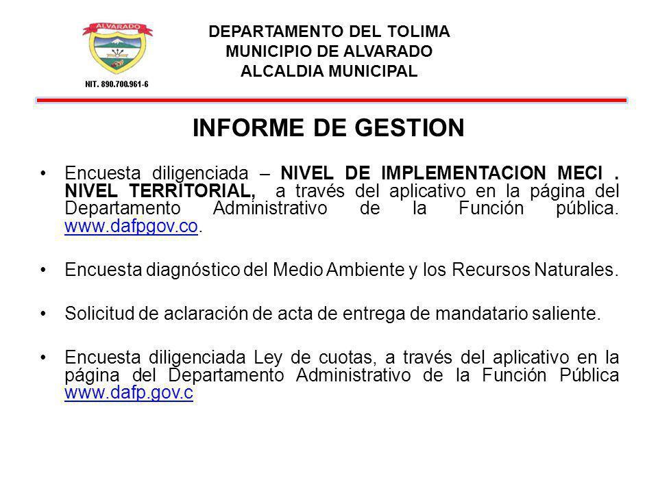 DEPARTAMENTO DEL TOLIMA MUNICIPIO DE ALVARADO ALCALDIA MUNICIPAL INFORME DE GESTION Encuesta diligenciada – NIVEL DE IMPLEMENTACION MECI. NIVEL TERRIT