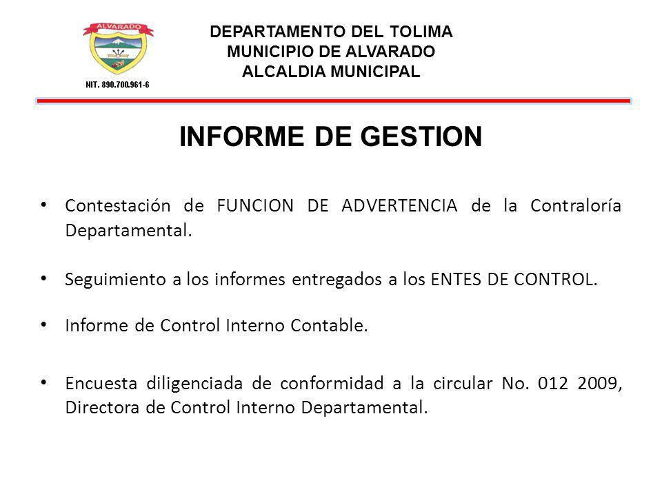 DEPARTAMENTO DEL TOLIMA MUNICIPIO DE ALVARADO ALCALDIA MUNICIPAL INFORME DE GESTION Contestación de FUNCION DE ADVERTENCIA de la Contraloría Departame