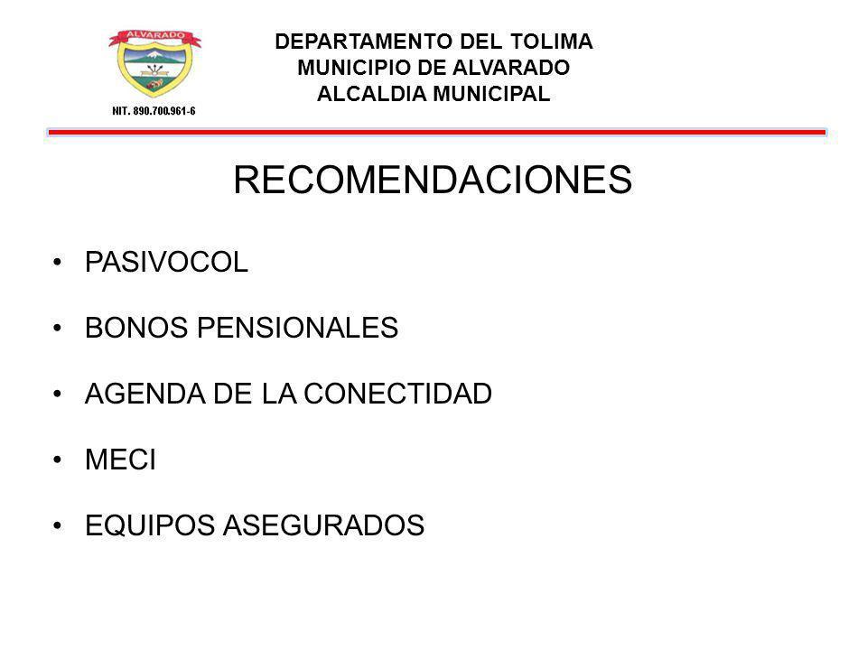 DEPARTAMENTO DEL TOLIMA MUNICIPIO DE ALVARADO ALCALDIA MUNICIPAL RECOMENDACIONES PASIVOCOL BONOS PENSIONALES AGENDA DE LA CONECTIDAD MECI EQUIPOS ASEG