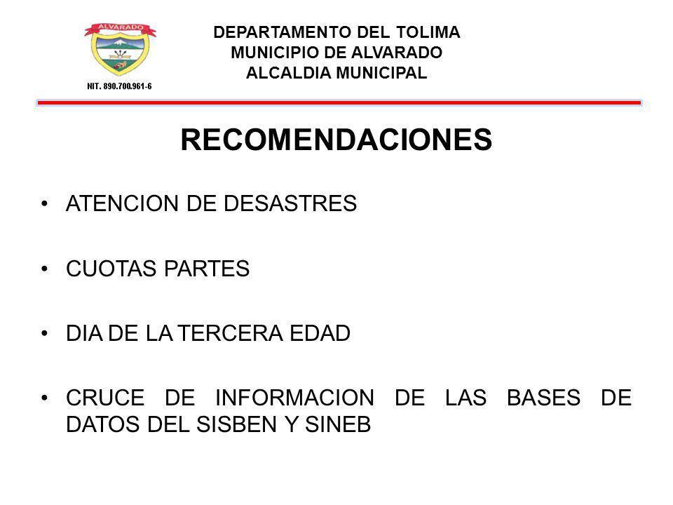 DEPARTAMENTO DEL TOLIMA MUNICIPIO DE ALVARADO ALCALDIA MUNICIPAL RECOMENDACIONES ATENCION DE DESASTRES CUOTAS PARTES DIA DE LA TERCERA EDAD CRUCE DE I