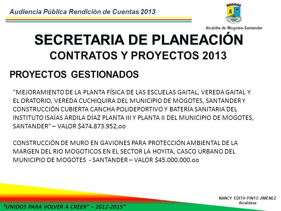 UNIDOS PARA VOLVER A CREER – 2012-2015 Alcaldía de Mogotes-Santander NANCY EDITH PINTO JIMÉNEZ Alcaldesa MEJORAMIENTO DE LA PLANTA FÍSICA DE LAS ESCUELAS GAITAL, VEREDA GAITAL Y EL ORATORIO, VEREDA CUCHIQUIRA DEL MUNICIPIO DE MOGOTES, SANTANDER Y CONSTRUCCIÓN CUBIERTA CANCHA POLIDEPORTIVO Y BATERÍA SANITARIA DEL INSTITUTO ISAÍAS ARDILA DÍAZ PLANTA III Y PLANTA II DEL MUNICIPIO DE MOGOTES, SANTANDER – VALOR $474.873.952,oo CONSTRUCCIÓN DE MURO EN GAVIONES PARA PROTECCIÓN AMBIENTAL DE LA MARGEN DEL RIO MOGOTICOS EN EL SECTOR LA HOYITA, CASCO URBANO DEL MUNICIPIO DE MOGOTES - SANTANDER – VALOR $45.000.000.oo Audiencia Pública Rendición de Cuentas 2013