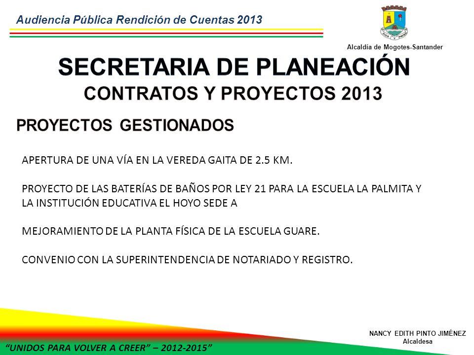 UNIDOS PARA VOLVER A CREER – 2012-2015 Alcaldía de Mogotes-Santander NANCY EDITH PINTO JIMÉNEZ Alcaldesa APERTURA DE UNA VÍA EN LA VEREDA GAITA DE 2.5 KM.