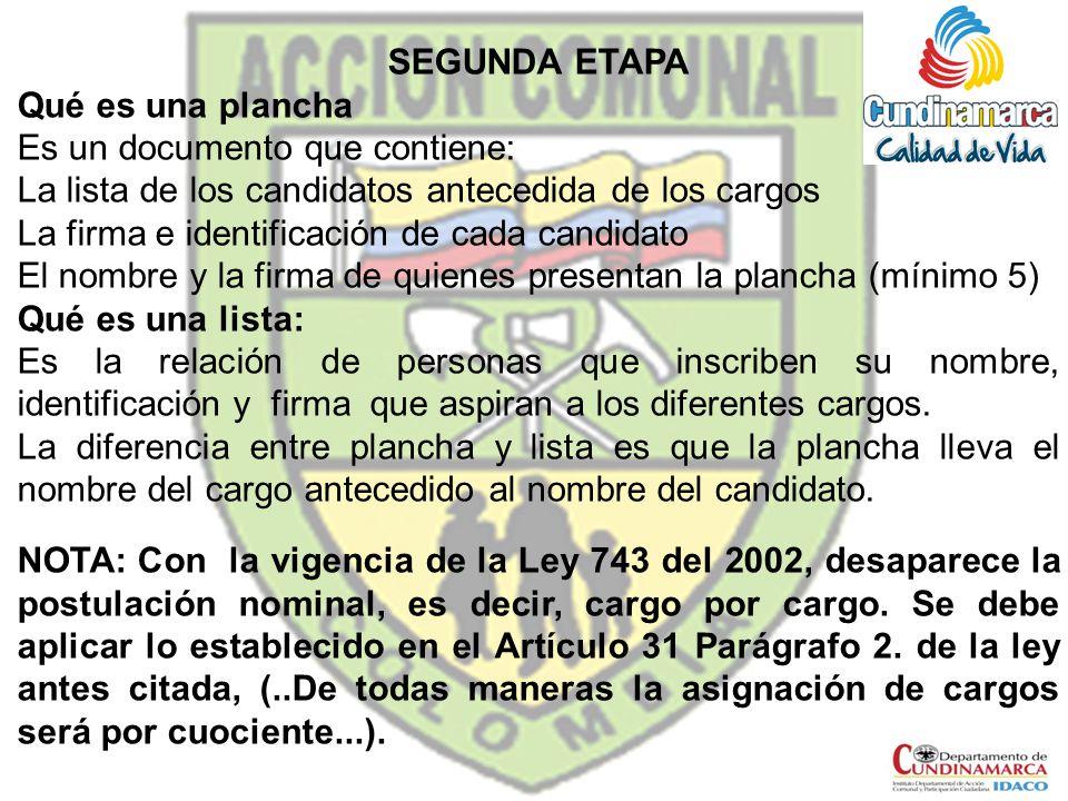 SEGUNDA ETAPA Qué es una plancha Es un documento que contiene: La lista de los candidatos antecedida de los cargos La firma e identificación de cada c