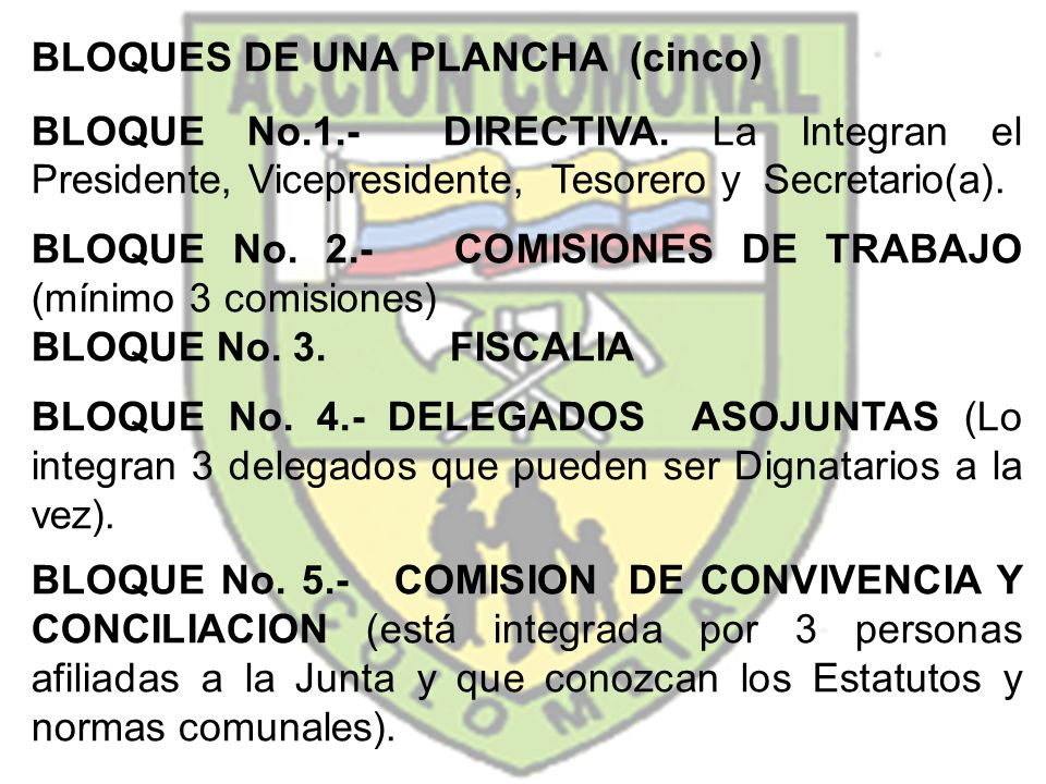 BLOQUES DE UNA PLANCHA (cinco) BLOQUE No.1.- DIRECTIVA. La Integran el Presidente, Vicepresidente, Tesorero y Secretario(a). BLOQUE No. 2.- COMISIONES