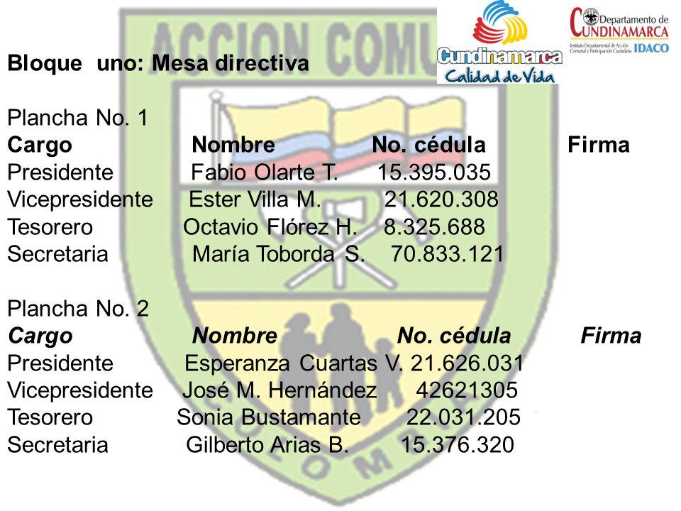 Bloque uno: Mesa directiva Plancha No. 1 Cargo Nombre No. cédula Firma Presidente Fabio Olarte T. 15.395.035 Vicepresidente Ester Villa M. 21.620.308