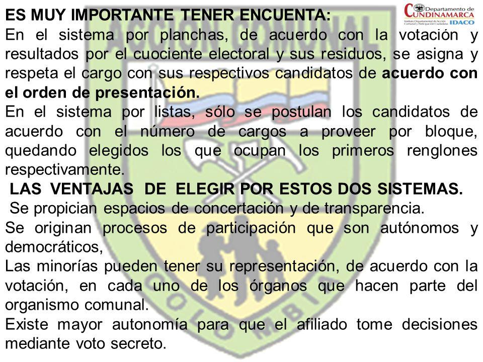 ES MUY IMPORTANTE TENER ENCUENTA: En el sistema por planchas, de acuerdo con la votación y resultados por el cuociente electoral y sus residuos, se as