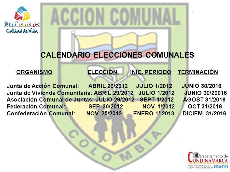 CALENDARIO ELECCIONES COMUNALES ORGANISMO ELECCIÓN INIC. PERIODO TERMINACIÓN Junta de Acción Comunal: ABRIL 29/2012 JULIO 1/2012 JUNIO 30/2016 Junta d