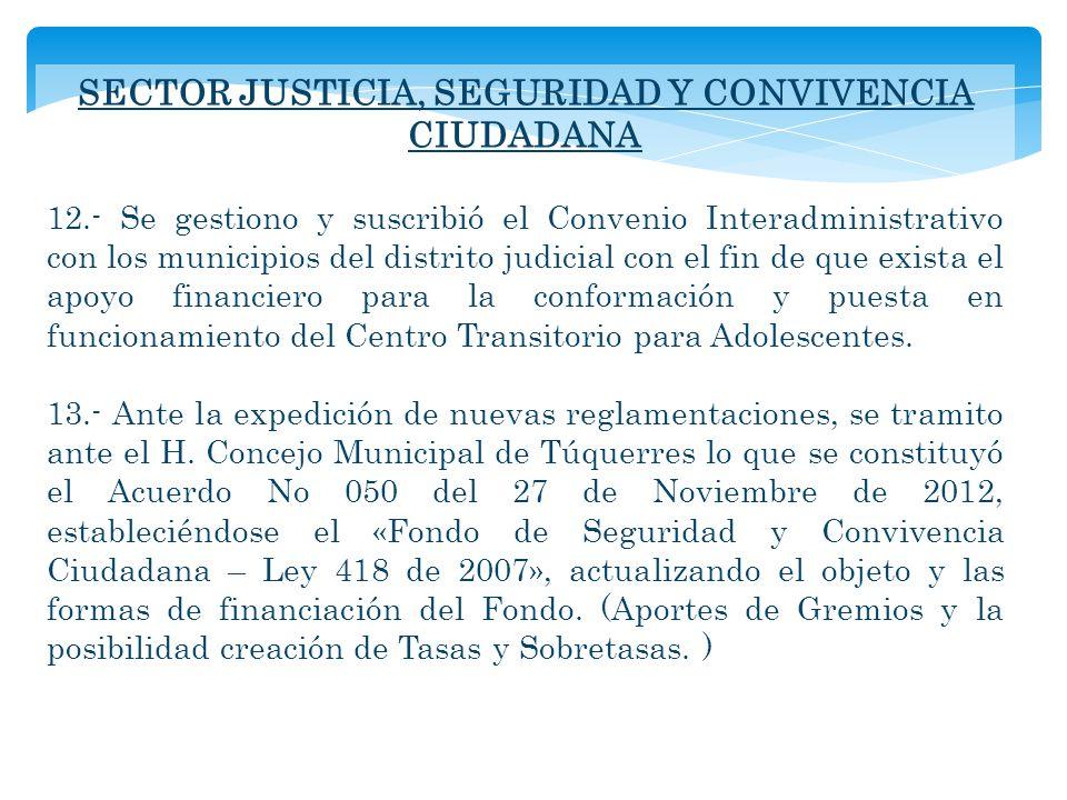 SECTOR JUSTICIA, SEGURIDAD Y CONVIVENCIA CIUDADANA 12.- Se gestiono y suscribió el Convenio Interadministrativo con los municipios del distrito judici