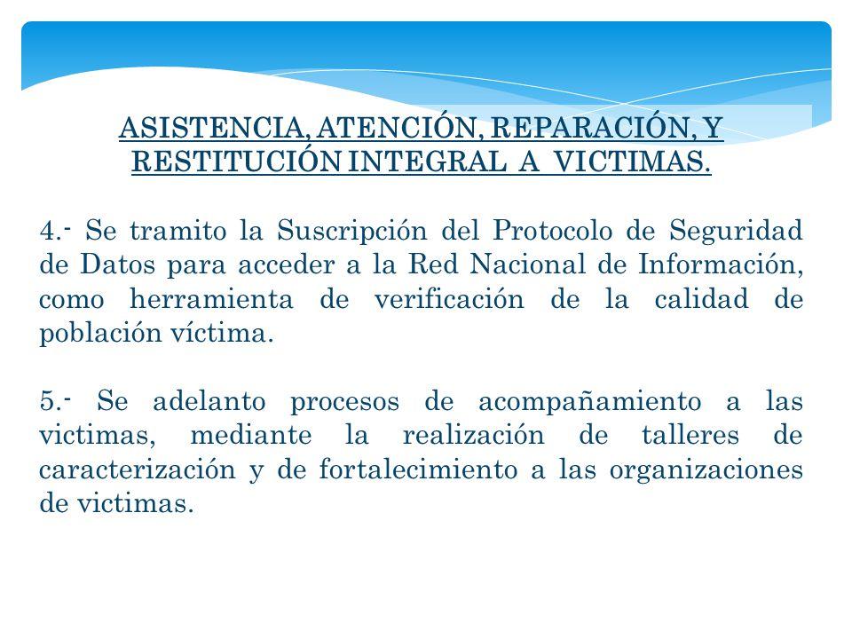 ASISTENCIA, ATENCIÓN, REPARACIÓN, Y RESTITUCIÓN INTEGRAL A VICTIMAS. 4.- Se tramito la Suscripción del Protocolo de Seguridad de Datos para acceder a