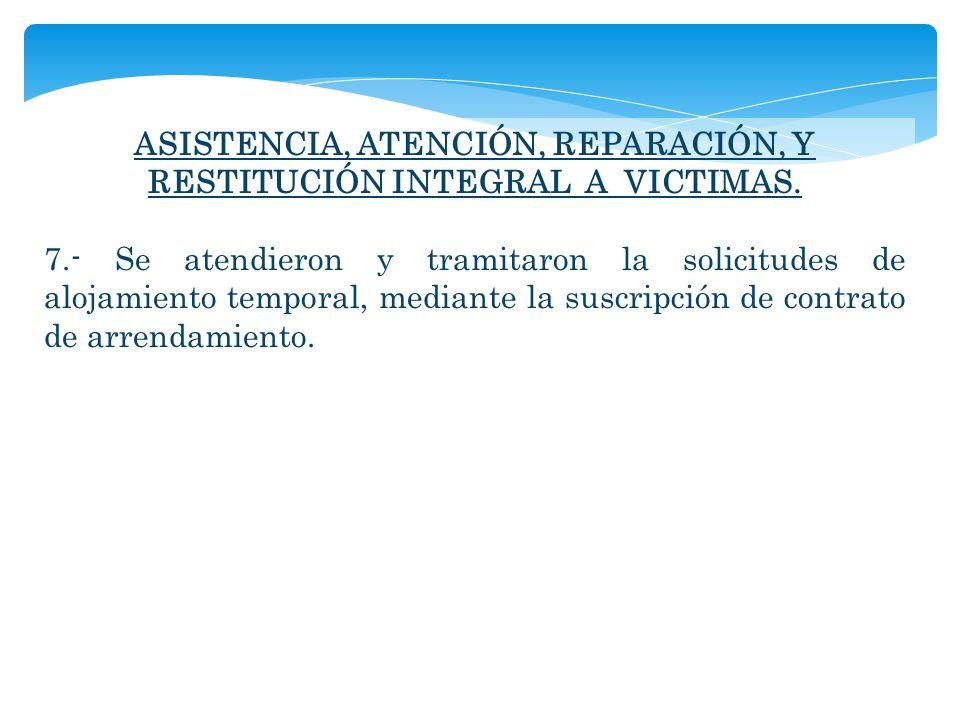 ASISTENCIA, ATENCIÓN, REPARACIÓN, Y RESTITUCIÓN INTEGRAL A VICTIMAS.