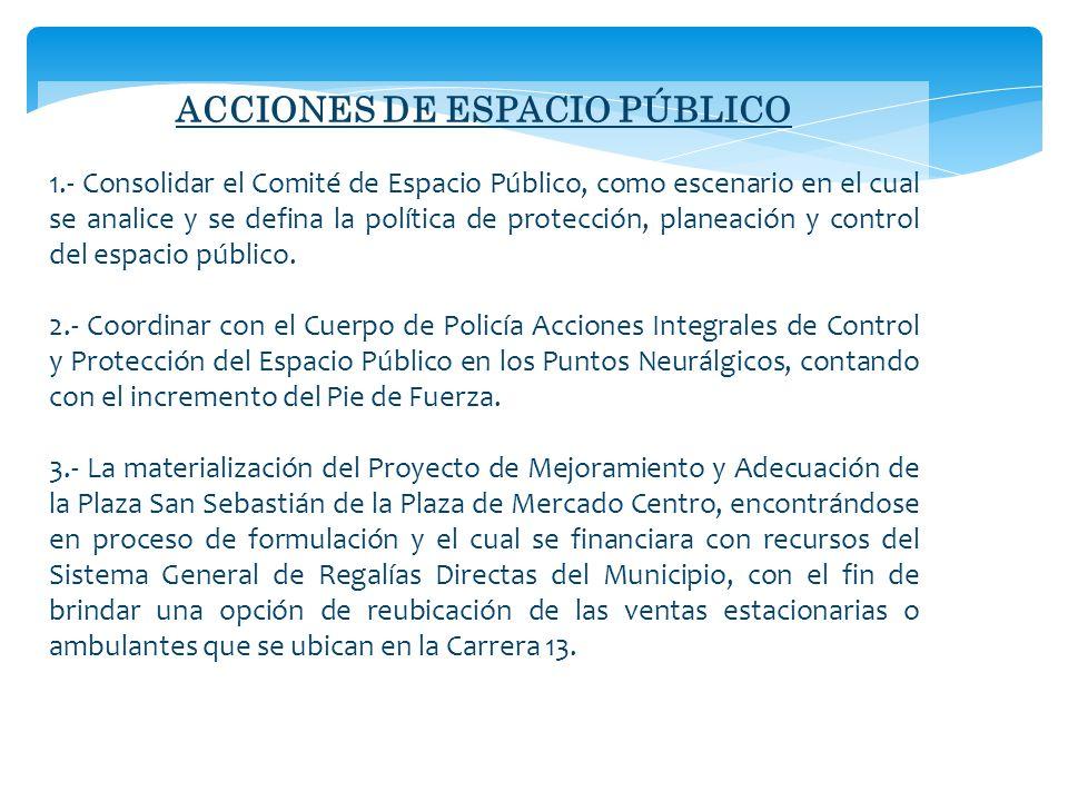 ACCIONES DE ESPACIO PÚBLICO 1.- Consolidar el Comité de Espacio Público, como escenario en el cual se analice y se defina la política de protección, planeación y control del espacio público.