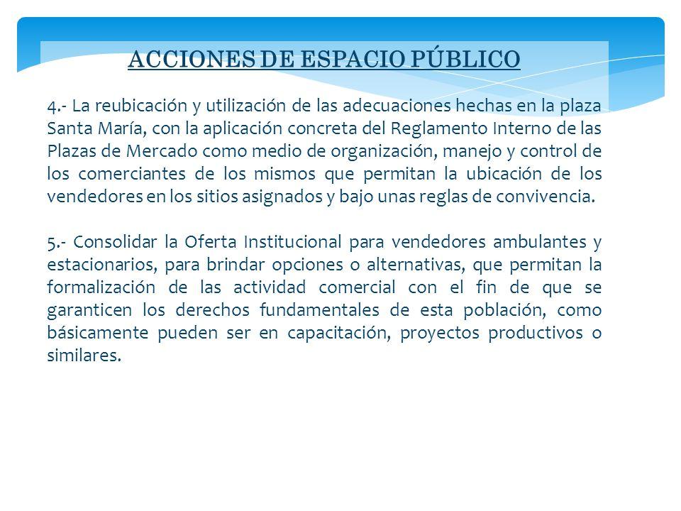 ACCIONES DE ESPACIO PÚBLICO 4.- La reubicación y utilización de las adecuaciones hechas en la plaza Santa María, con la aplicación concreta del Reglam
