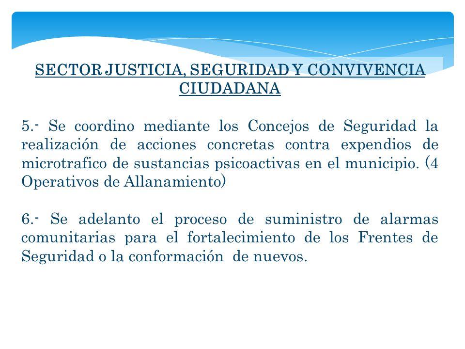 SECTOR JUSTICIA, SEGURIDAD Y CONVIVENCIA CIUDADANA 5.- Se coordino mediante los Concejos de Seguridad la realización de acciones concretas contra expendios de microtrafico de sustancias psicoactivas en el municipio.