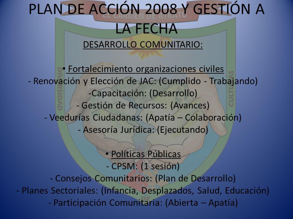 PLAN DE ACCIÓN 2008 Y GESTIÓN A LA FECHA DESARROLLO COMUNITARIO: Fortalecimiento organizaciones civiles - Renovación y Elección de JAC: (Cumplido - Tr