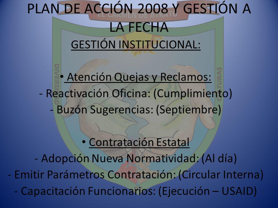PLAN DE ACCIÓN 2008 Y GESTIÓN A LA FECHA GESTIÓN INSTITUCIONAL: Atención Quejas y Reclamos: - Reactivación Oficina: (Cumplimiento) - Buzón Sugerencias