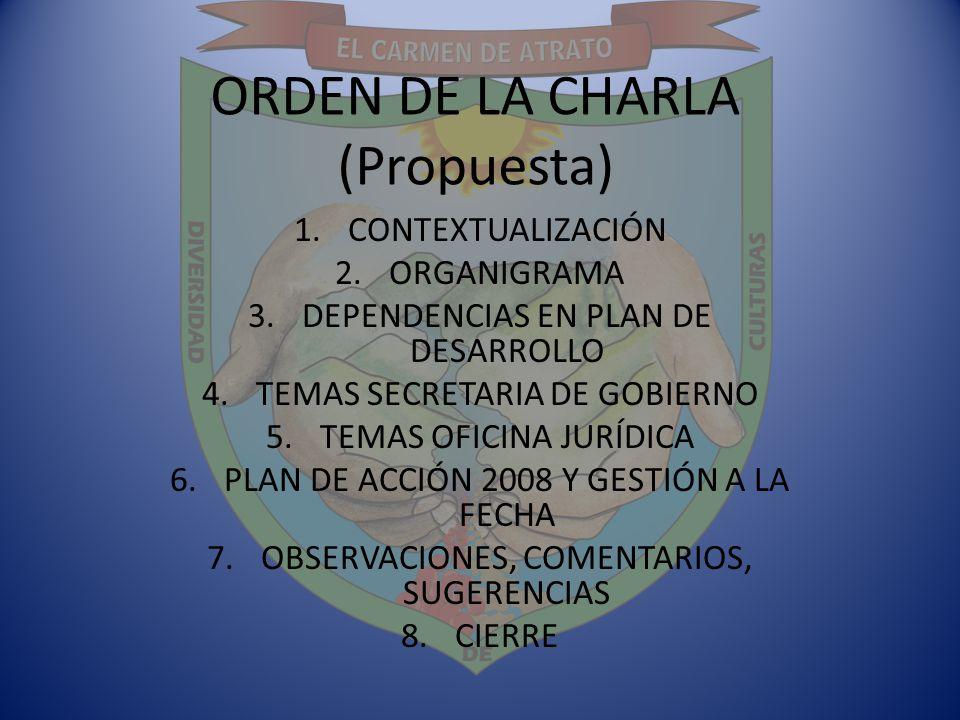 ORDEN DE LA CHARLA (Propuesta) 1.CONTEXTUALIZACIÓN 2.ORGANIGRAMA 3.DEPENDENCIAS EN PLAN DE DESARROLLO 4.TEMAS SECRETARIA DE GOBIERNO 5.TEMAS OFICINA J