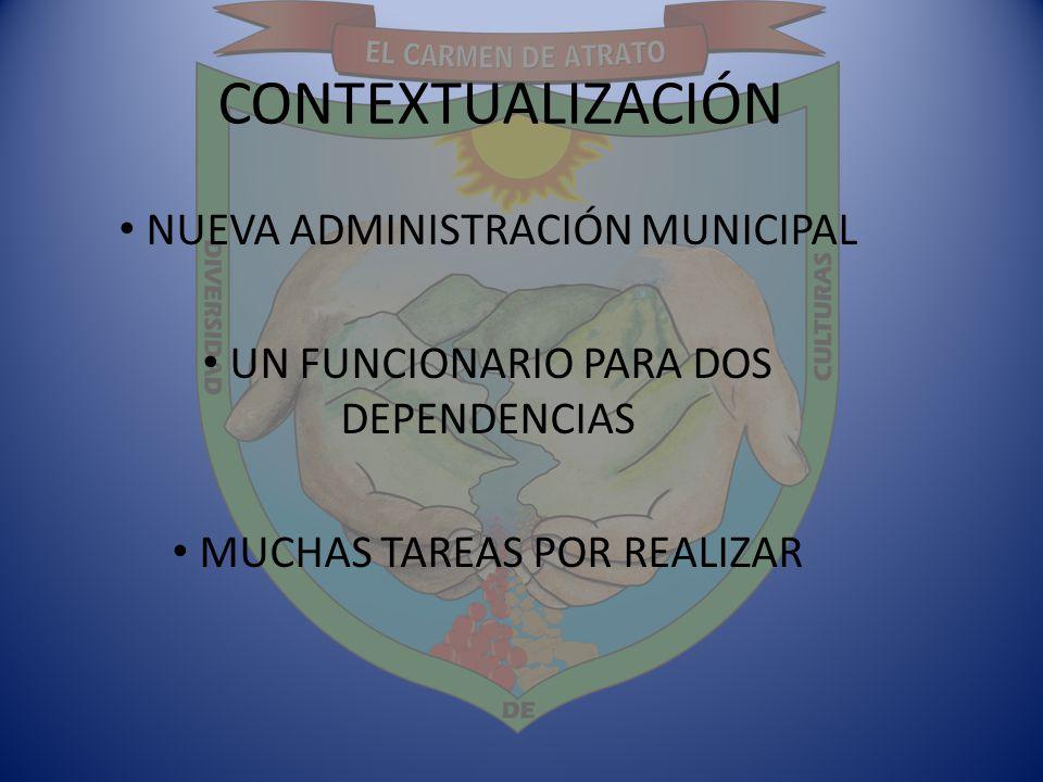 CONTEXTUALIZACIÓN NUEVA ADMINISTRACIÓN MUNICIPAL UN FUNCIONARIO PARA DOS DEPENDENCIAS MUCHAS TAREAS POR REALIZAR