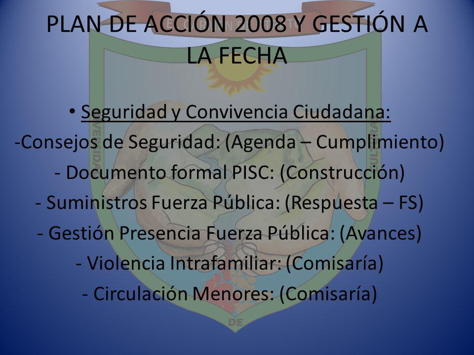 PLAN DE ACCIÓN 2008 Y GESTIÓN A LA FECHA Seguridad y Convivencia Ciudadana: -Consejos de Seguridad: (Agenda – Cumplimiento) - Documento formal PISC: (