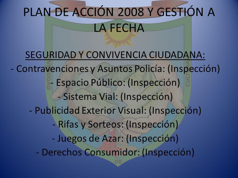 PLAN DE ACCIÓN 2008 Y GESTIÓN A LA FECHA SEGURIDAD Y CONVIVENCIA CIUDADANA: - Contravenciones y Asuntos Policía: (Inspección) - Espacio Público: (Insp