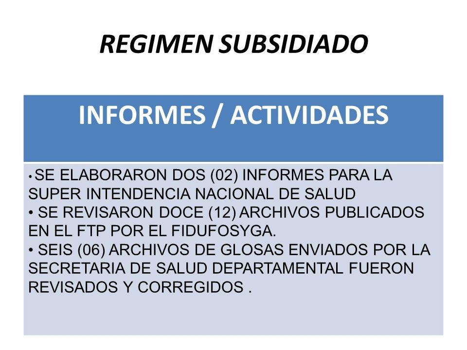 REGIMEN SUBSIDIADO INFORMES / ACTIVIDADES SE ELABORARON DOS (02) INFORMES PARA LA SUPER INTENDENCIA NACIONAL DE SALUD SE REVISARON DOCE (12) ARCHIVOS PUBLICADOS EN EL FTP POR EL FIDUFOSYGA.