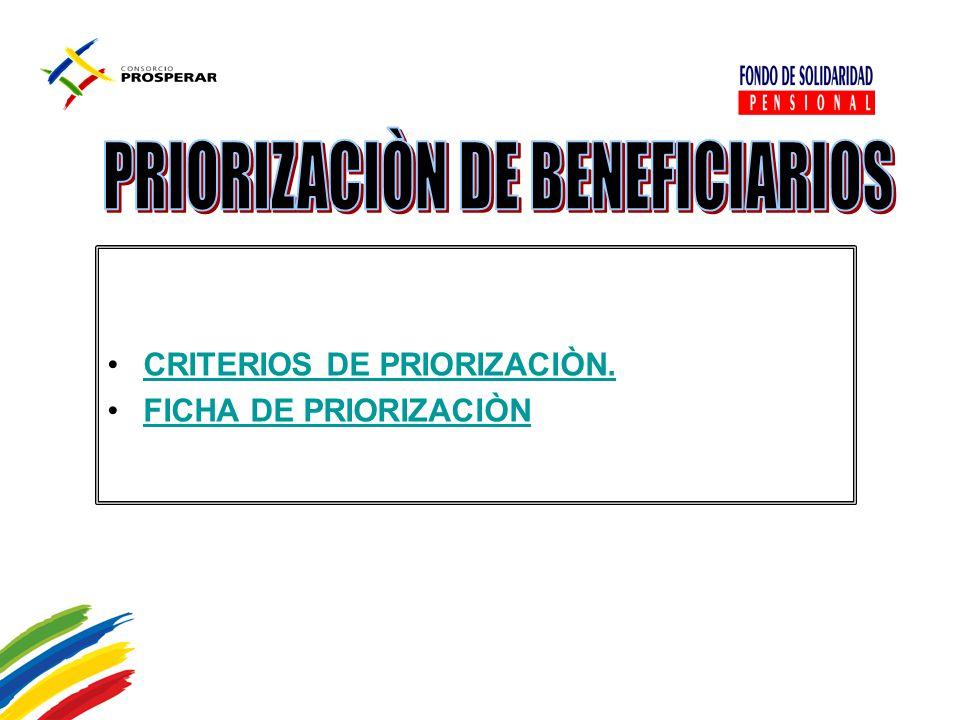 CRITERIOS DE PRIORIZACIÒN. FICHA DE PRIORIZACIÒNFICHA DE PRIORIZACIÒN