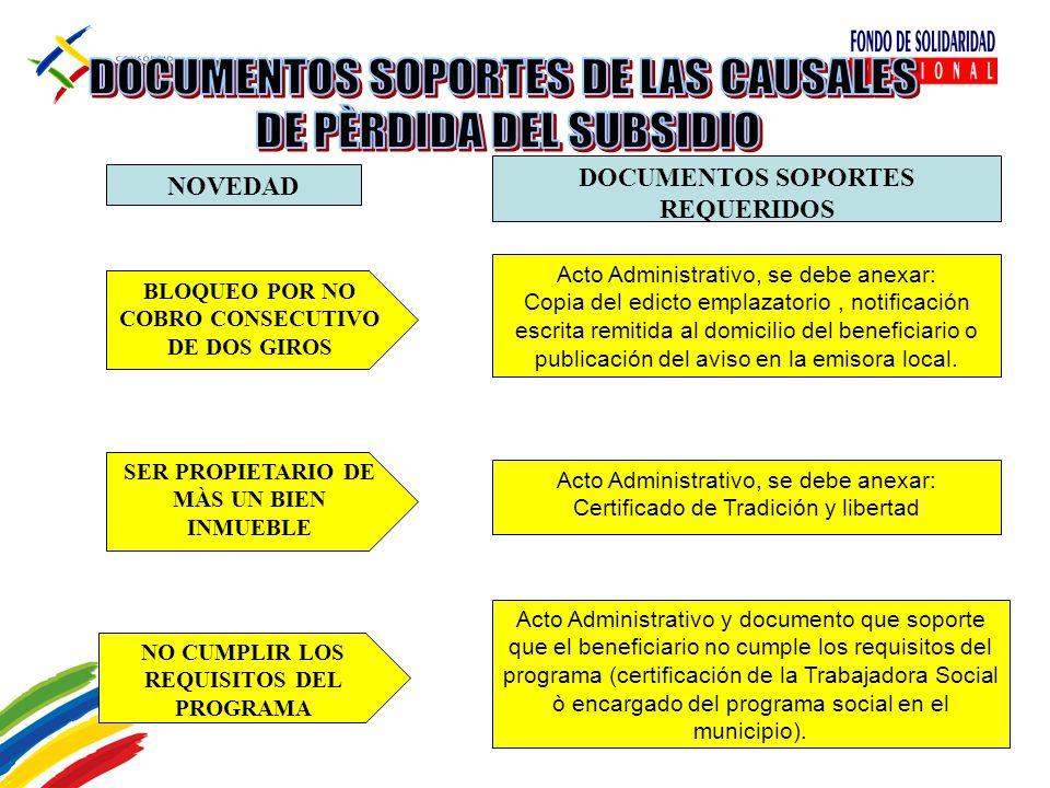 Acto Administrativo y documento que soporte que el beneficiario no cumple los requisitos del programa (certificación de la Trabajadora Social ò encarg
