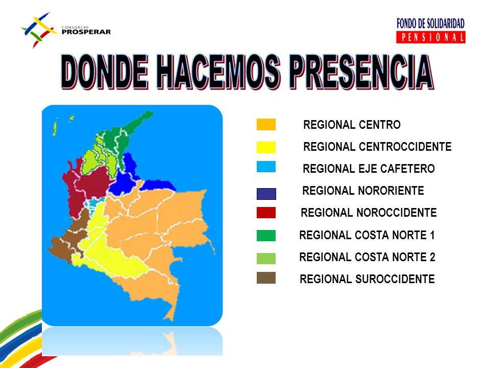 REGIONAL CENTRO REGIONAL CENTROCCIDENTE REGIONAL EJE CAFETERO REGIONAL NORORIENTE REGIONAL NOROCCIDENTE REGIONAL COSTA NORTE 1 REGIONAL COSTA NORTE 2