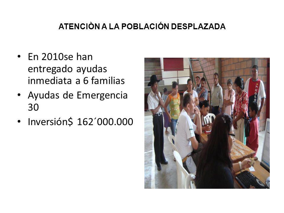 ATENCIÒN A LA POBLACIÓN DESPLAZADA En 2010se han entregado ayudas inmediata a 6 familias Ayudas de Emergencia 30 Inversión$ 162´000.000